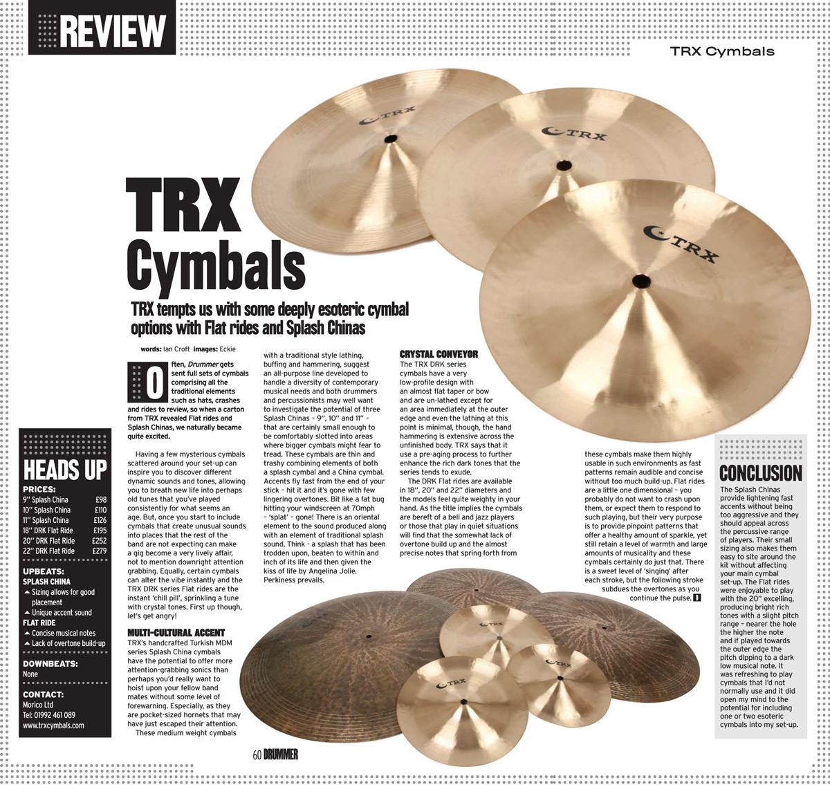 TRX Specials Review In Drummer Magazine