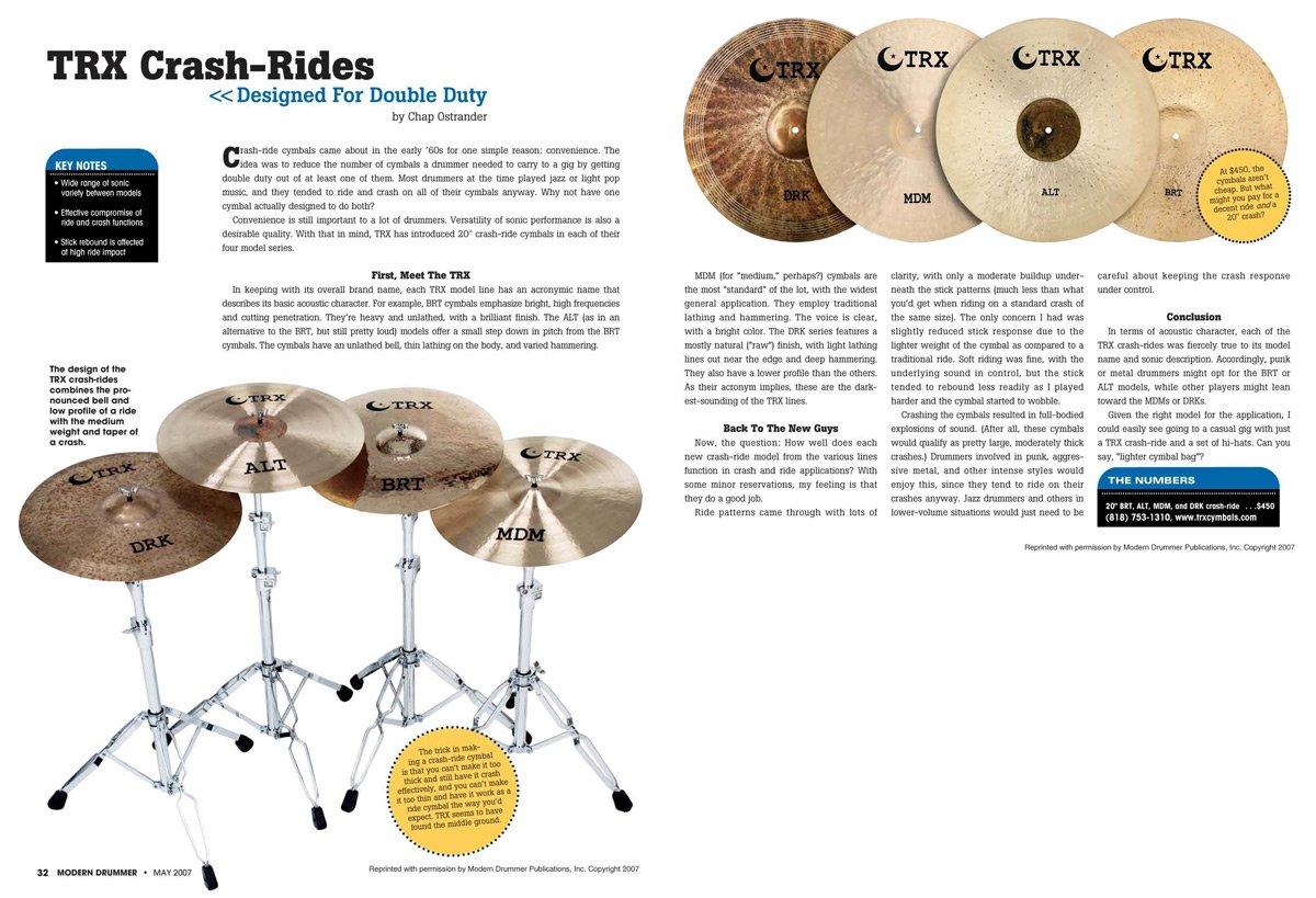 TRX Crash-Ride Review In Modern Drummer Magazine