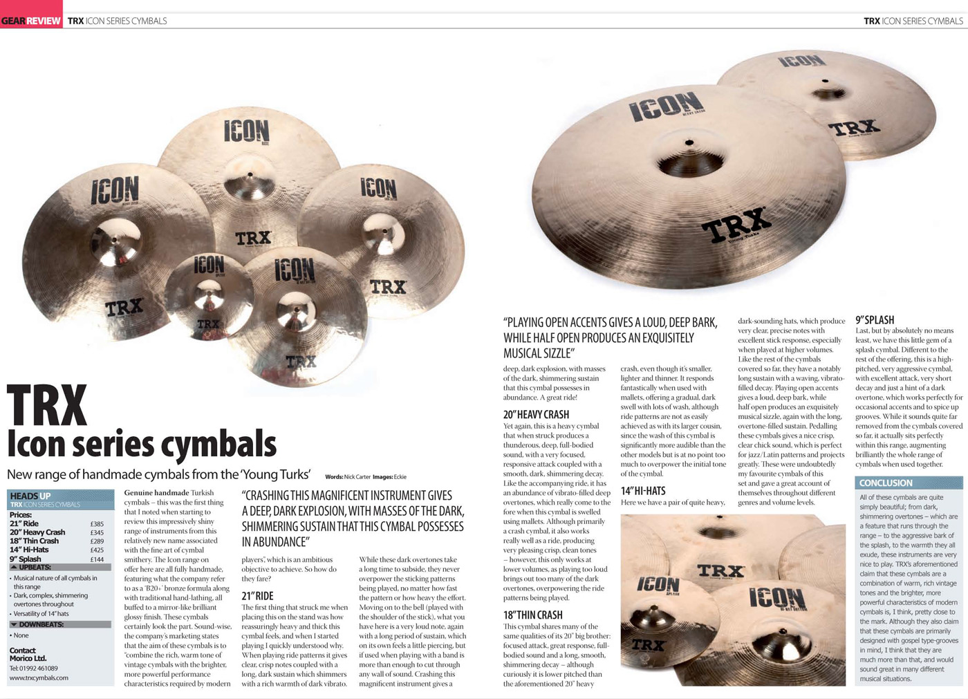 TRX Icon Review In DRUMMER Magazine
