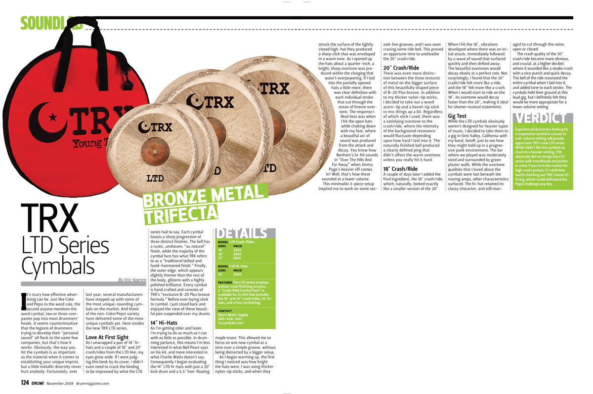TRX LTD Review In Drum Magazine