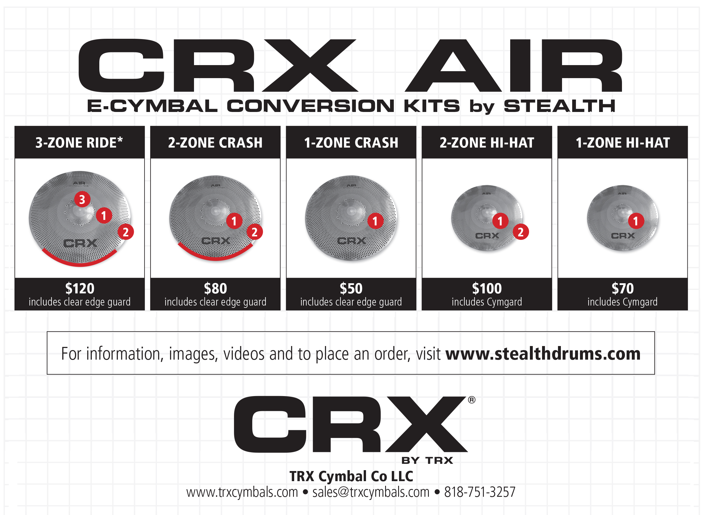 E-Cymbal Conversion Kits Now Available For CRX AIR Low-Volume Cymbals.